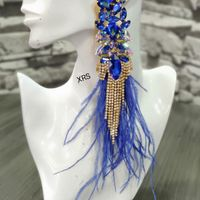 Ophelia Blue Earrings With Feathers