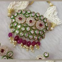 Red Green Multichain White Diamond Stone Style Necklace And Earrings Set