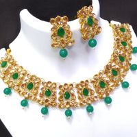 Aqua Green With Golden Style Necklace And Earrings Set