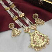 Multilayer Long Pearl Red Gold White Style Necklace And Earrings Set