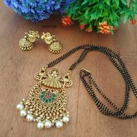 Double Line 24 Inch Chain Curcular Green And Pearls Gold Pendant Mangalsutra And Earrings Set
