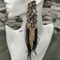 Ophelia Black Earrings With Feathers