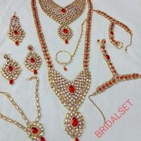 Heavy Diamond And Red Style Bridal Set