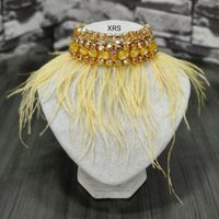 Statement Choker With Pale Yellow Feathers