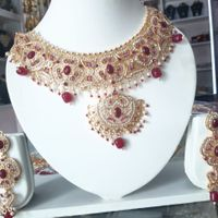 Red Bead And Stone Necklace And Earrings Set