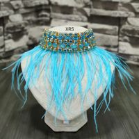 Statement Choker With Blue Feathers
