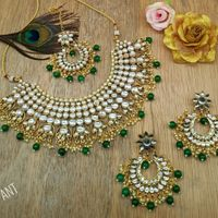 Green Beads With Silver Golden Diamond Style Set